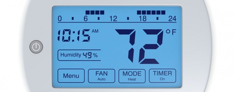 closeup view of all features on a digital thermostat